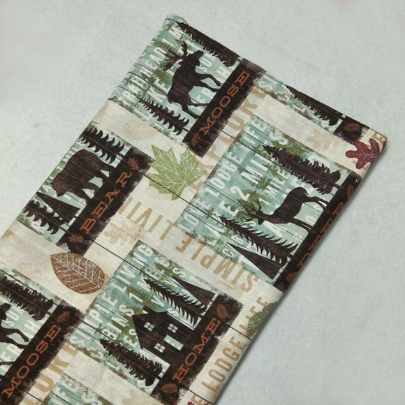 Forest Moose Print Twill Cotton Fabric - 19.7