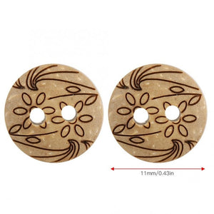 Unique Design Coconut Buttons - 100pcs/Pack