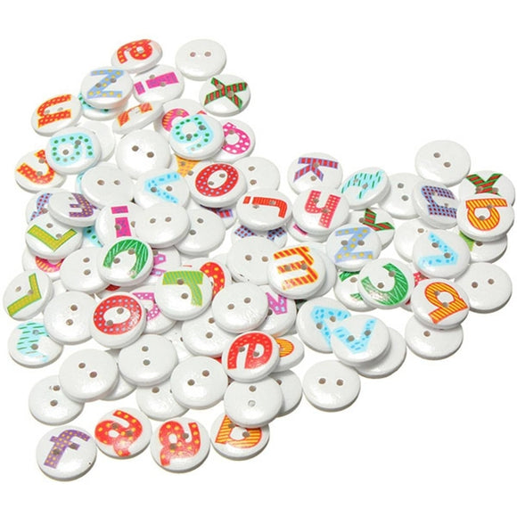 Mixed Letter Wooden Buttons - 100pcs/Pack