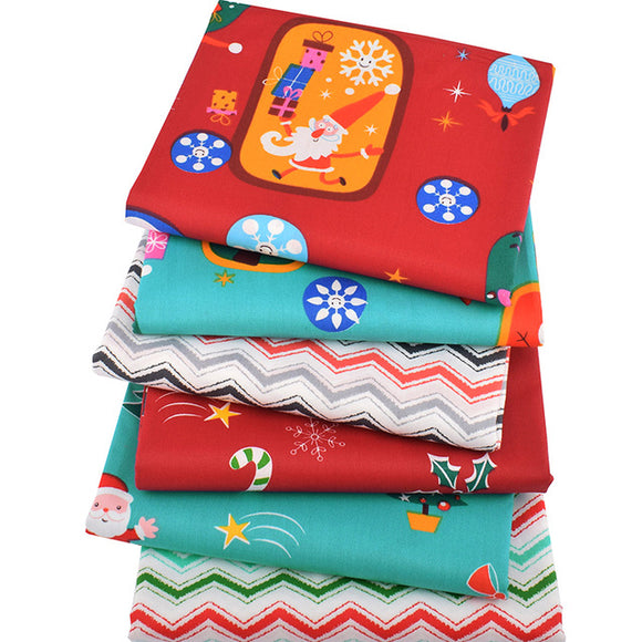 Cute Christmas Print Twill Cotton Fabric Bundle - 6pcs/Pack - 15.7