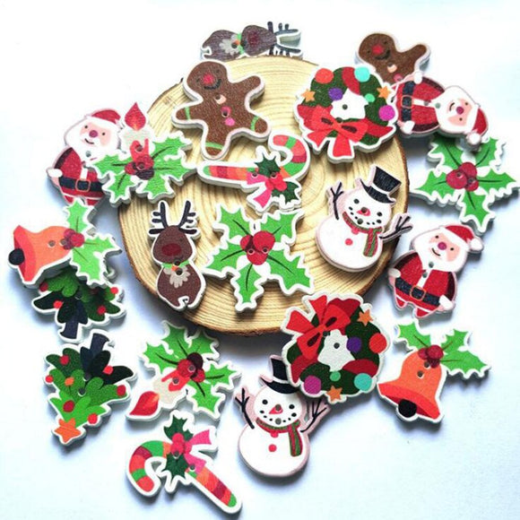 Christmas Decorations Wooden Buttons - 50pcs/Pack