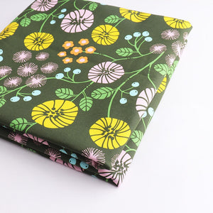 "Greeny Flower Print Cotton Fabric - 19.7"" x 59"""