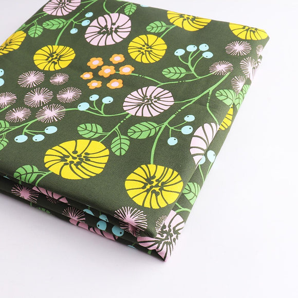Greeny Flower Print Cotton Fabric - 19.7