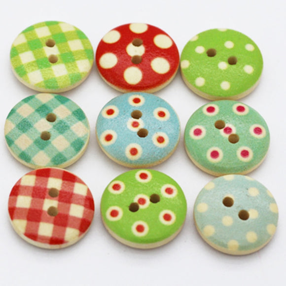 Pin-Up Style Wooden  Buttons - 100pcs/Pack
