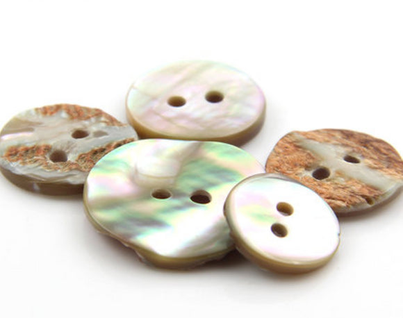 Abalone Shell Buttons - 10pcs/Pack