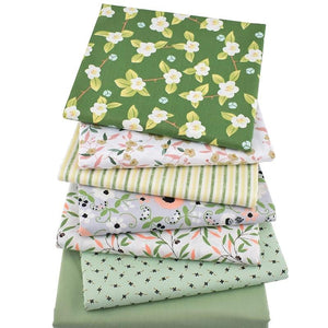 "Floral Print Green Series Twill Cotton Fabric - 15.7"" x 19.7"" - 7pcs/Pack"