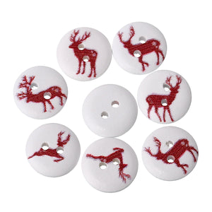 Reindeer Print Wooden Buttons - 100pcs/Pack
