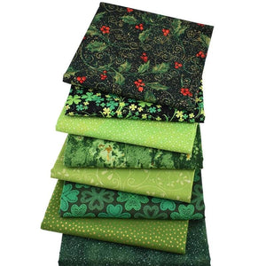 "Touch Of Green Bronzing Style Cotton Fabric - 9.8"" x 9.8"" - 8pcs/Pack"