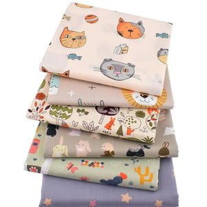 "Happy Animals Print Twill Cotton Fabric - 15.7"" x 19.7"" - 6pcs/Pack"