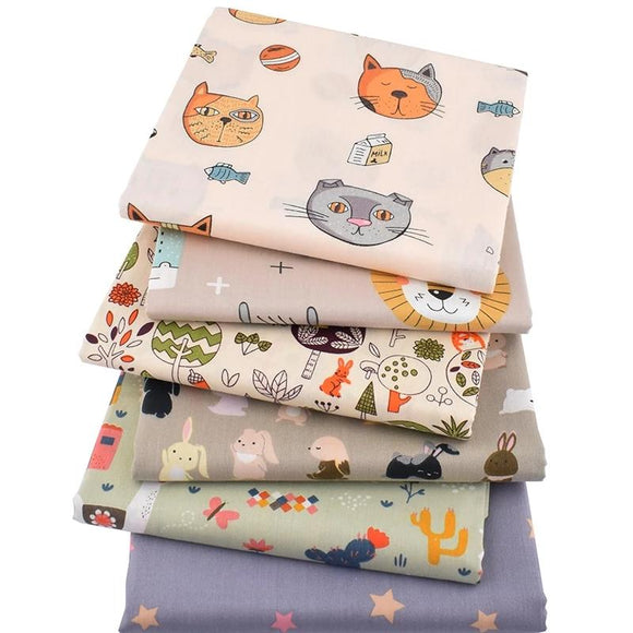 Happy Animals Print Twill Cotton Fabric - 15.7