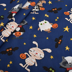 "Cute Halloween Character Print Twill Cotton Fabric - 39.3"" x  62.9"""