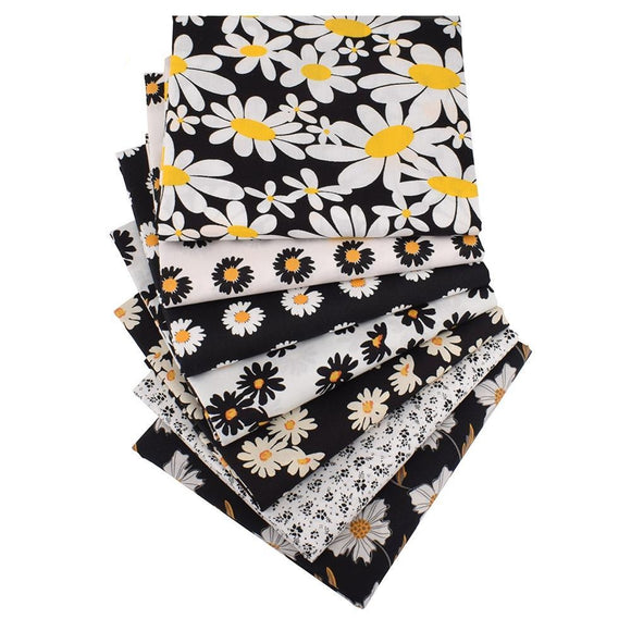 Black & White Sunflower Print Cotton Fabric - 39.3