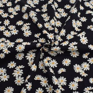 "Black & White Sunflower Print Cotton Fabric - 39.3"" x 57"""