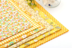 "Yellow Summer Collection Cotton Fabric - 19.7"" x 19.7"" - 6pcs/lot"