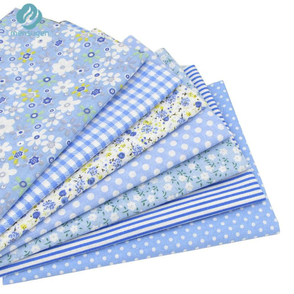 7pcs Blue 100% Cotton Fabric 19.7