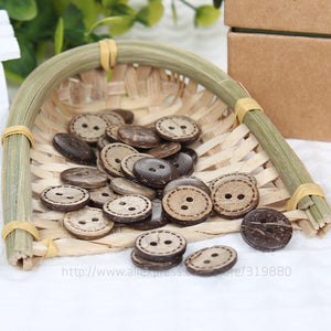 Natural Wood Circular Buttons - 15mm (50pcs)