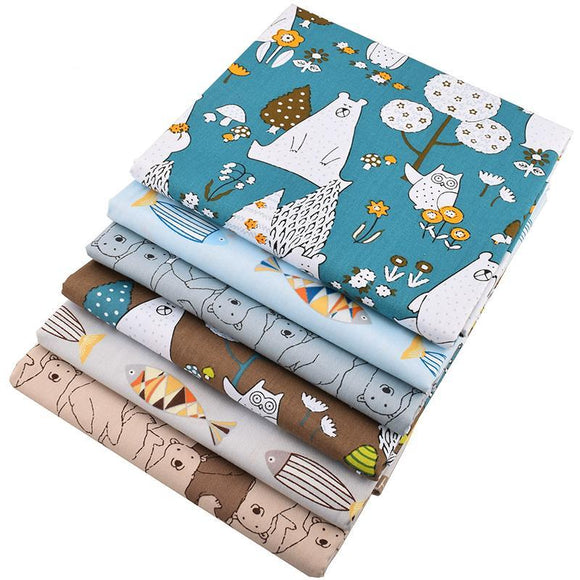 Bears & Fishes Twill Cotton Fabric 6pcs/lot -  40x50cm