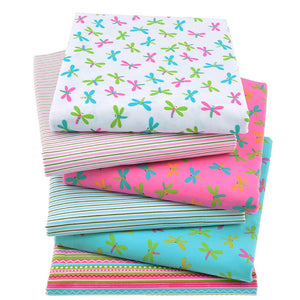 Dragonfly & Stripes Twill Cotton Fabric - 40X50cm - 6pcs/lot