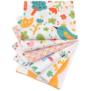 "Crown & Bird Series Twill Cotton Fabric - 15.7"" x 19.7"" - 6pcs/Pack"