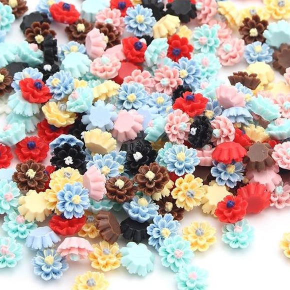 Flat Resin Flowers- 50pcs/lot