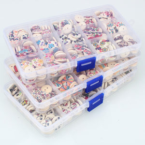 Mixed Design Buttons 225pcs With Storage Box