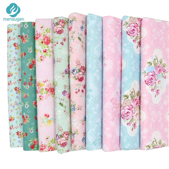 9pcs Floral Cotton Fabric for Patchwork