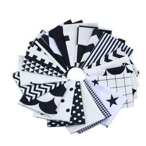Mixed Black & White Collection Cotton Fabric -20x24cm - 21pcs/Pack