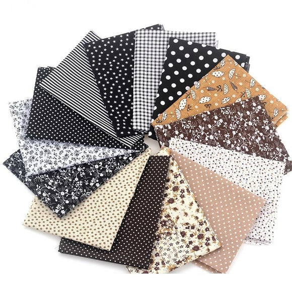 Black & Coffee Cotton Fabric - 20x24cm - 14pcs/Pack