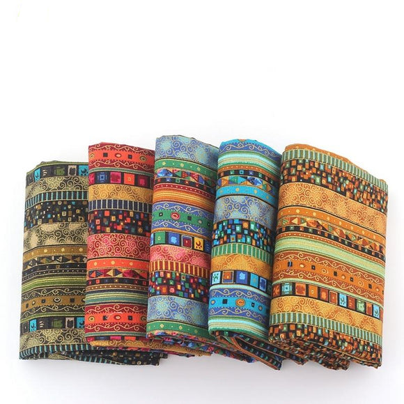 African Style Vintage Cotton Fabric - 145x50cm
