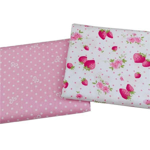 Strawberry & Dotted Twill Cotton Fabric