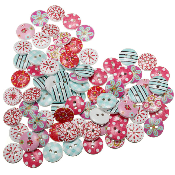 Lovely Wooden Round Buttons 80pcs/lot
