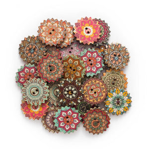 Painted Gear Wooden Buttons - 50pcs/Pack