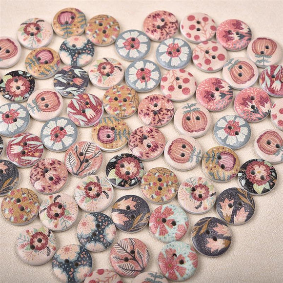 Printed Round Wooden Button - 50pcs/Pack