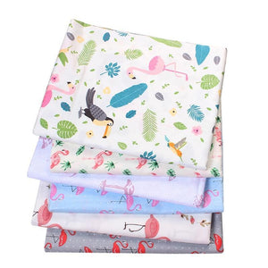 Flamingo Print Twill Cotton Fabric - 50x40cm (6pcs/lot)