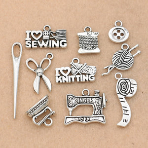""" It's All About Sewing "" Pendants - 10pcs Mix"