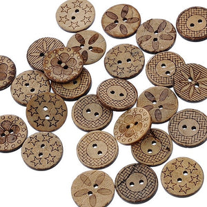 Mixed Pattern Coconut Shell Buttons - 50pcs/Pack