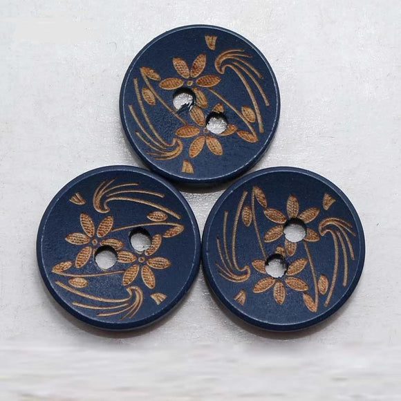 Flower Design Dark Blue Wooden Buttons- 50pcs/Pack