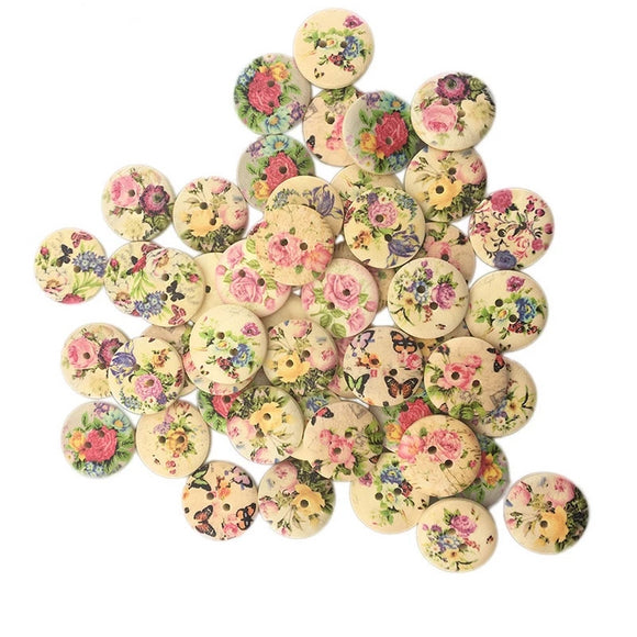 Vintage Floral Print Wooden Buttons - 20mm - 50pcs/Pack