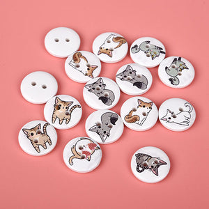 Cute Kawaii Round Buttons - 50pcs/Set