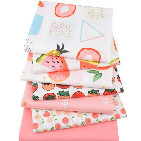 Cute Fruity Print Twill Cotton Fabric - 7pcs/Lot - 40cm x 50cm