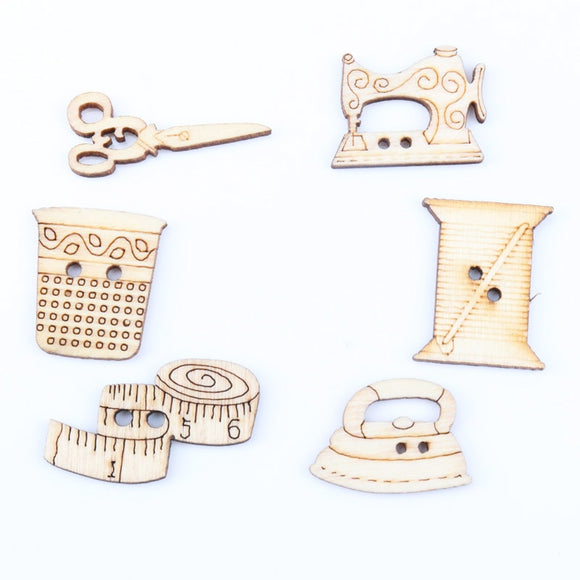 Wooden Sewing Button - 20pcs