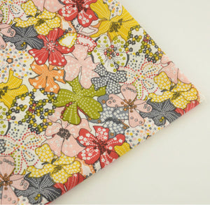 Colored Leaves Design Cotton Fabric