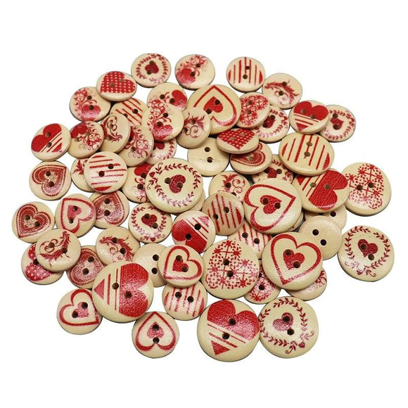 Hearty Heart 2-Hole Wooden Buttons - 50pcs/Pack