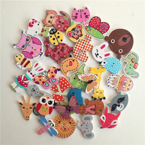 Mixed Animals Wooden Buttons - 50pcs/Pack