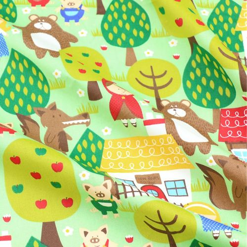 Little Red Riding Hood Print Twill Cotton Fabric