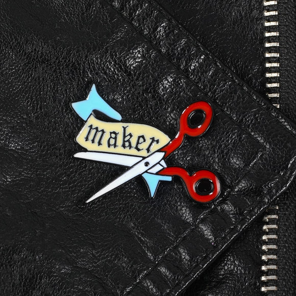 Maker Scissors Pin Brooch