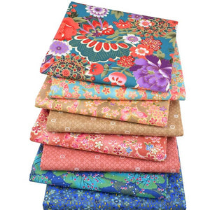 "Bronzing Floral Style Twill Cotton Fabric - 15.7"" x 19.7"" - 8pcs/Lot"