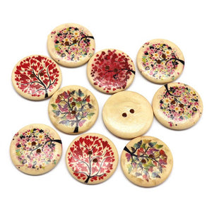 Tree Pattern Print Wooden Buttons - 30mm - 10pcs/Pack