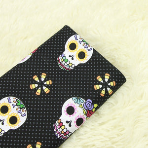 "Rosy Skull Polka Cotton Fabric - 19.7"" x 55.1"""