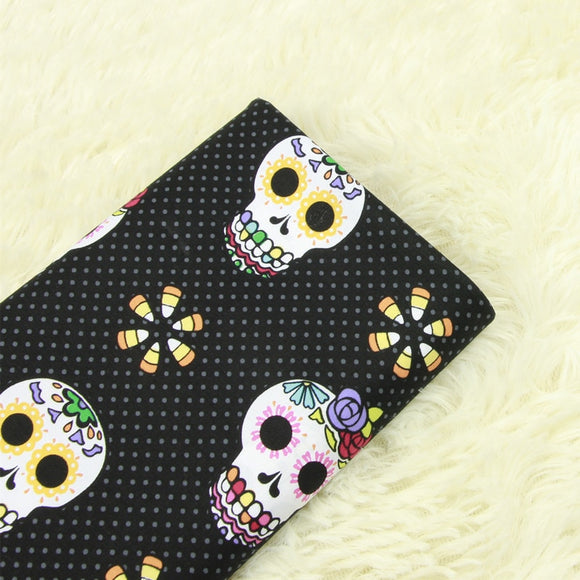 Rosy Skull Polka Cotton Fabric - 19.7